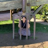 A giant pitchfork in an Alice in Wonderland themed garden!