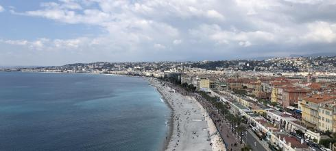 View of the city and Mediterranean Sea in Nice, France
