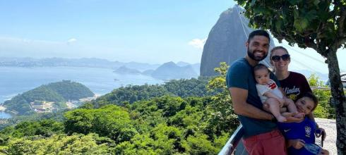 We are at the top of the Sugarloaf hike in Rio de Janeiro