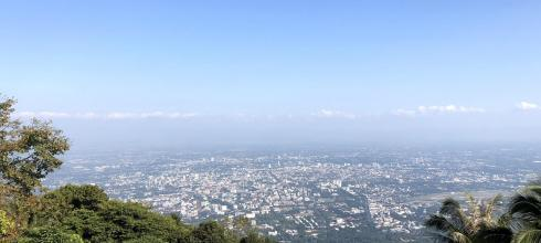 A view of Chiang Mai from higher up in the mountains