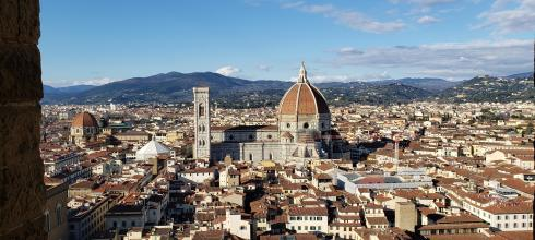 The beautiful city of Florence. You can see the giant domed cathedral, or duomo, from anywhere in the city..