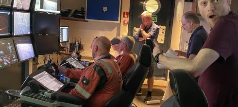 Some of my crew working in the ROV control room