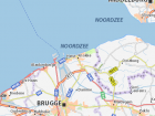 This map shows how close Knokke is to the sea and Brugge the nearest city