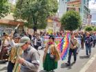 Indigenous men and women march in support of Evo Morales