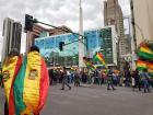 Opposition protestors gather in La Paz