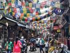 A busy tourist street in the center of Kathmandu, Nepal