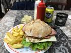 This burger was on a ciabatta bun; Kas is a lemon soda that is popular here