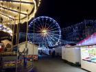 Holiday lights light up the ferris wheel