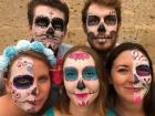Along with some fellow travelers, we got our faces painted in the city of Guadalajara during Day of the Dead, a festival to remember loved ones who have died