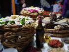 A typical Tsagaan Tsar table filled with food