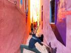 Travel posing in Strada Sforii, Romania's narrowest street!