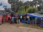 The homemade huts of the business fair