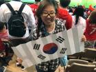 Cheering for Team Korea at the soccer game