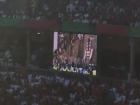 View of the running of the bulls on a screen inside the bullring in Pamplona