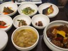 Traditional Korean meal with banchan (side dishes)