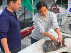 Cleaning halibut in Alaska
