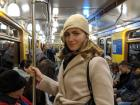 Here's me in the metro car! Check out the old-style lamps