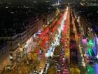 This is the spectacular nighttime view of Champs-Élysées from the top of the Arc de Triomphe