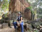 Me sitting in front of a brick temple in the complex!