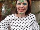 "Me in traditional ""Dia de Los Muertos"" face paint, preparing to dance for Namibians!"