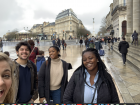 My friends Alex, Madison and Tolu in the streets of Bordeaux
