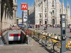 The metro entrance in Piazza Duomo in Milan, Italy