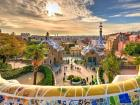 A view of Barcelona from Park Guell's wall mural
